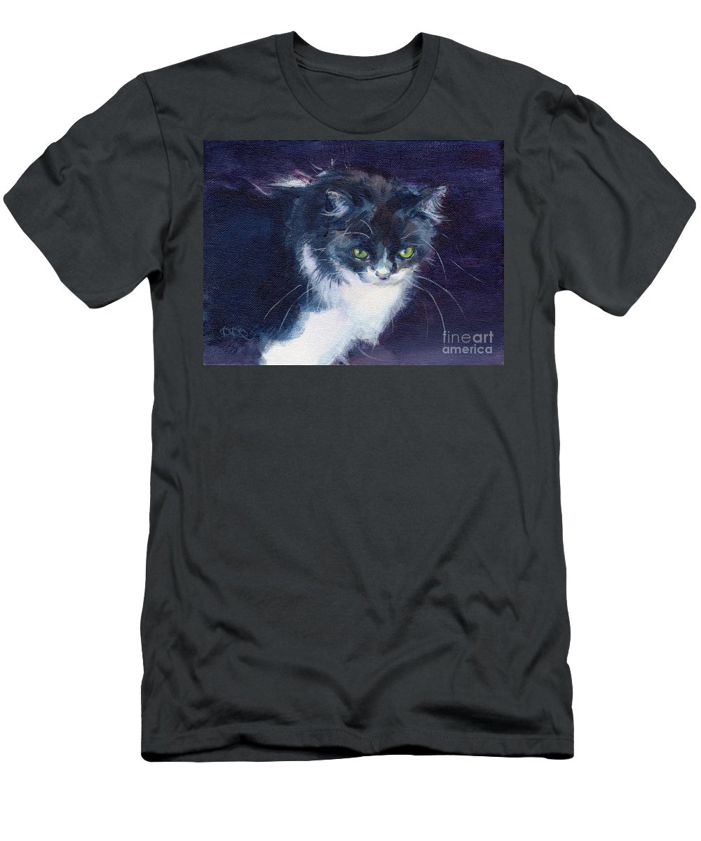 Feline Men's T-Shirt (Athletic Fit) featuring the painting Black On Blacl by Kimberly Santini