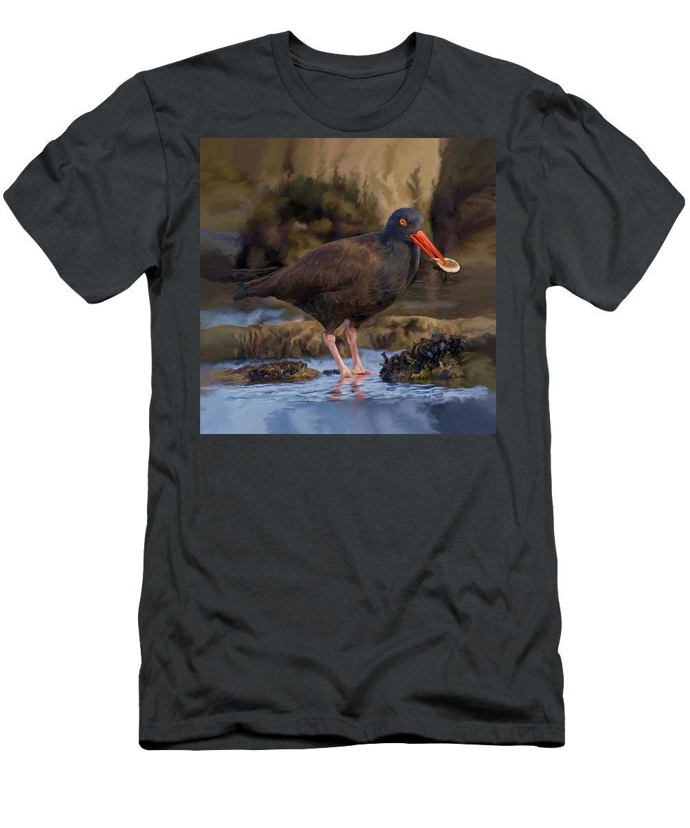 Black Oyster Catcher Men's T-Shirt (Athletic Fit) featuring the painting Black Oyster Catcher by David Wagner