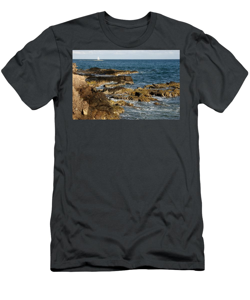 Sailboat Men's T-Shirt (Athletic Fit) featuring the photograph Black Rock Point And Sailboat by Jean Macaluso