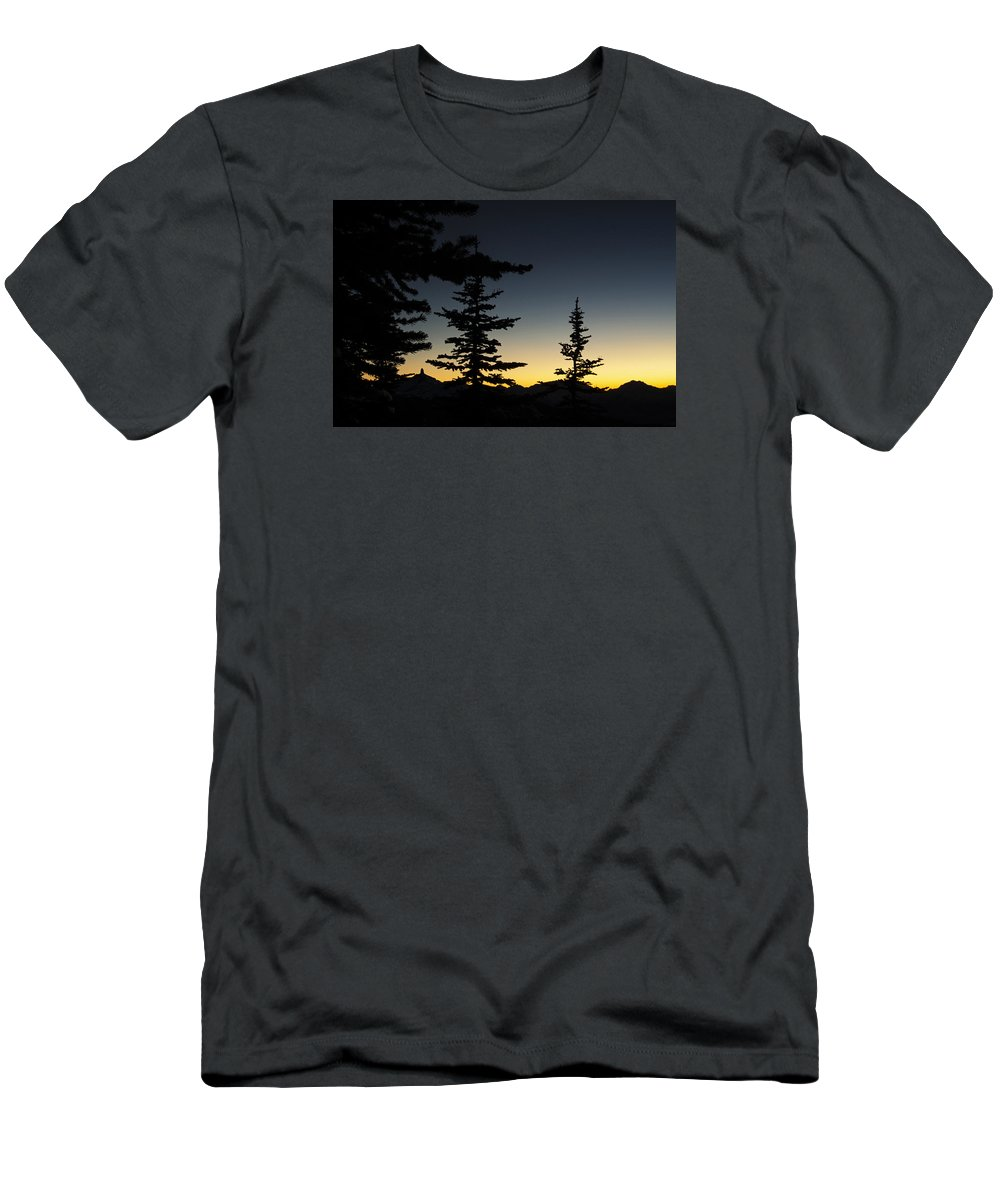 Trees Men's T-Shirt (Athletic Fit) featuring the photograph Black Tusk Sunset by Dylan DeGraff
