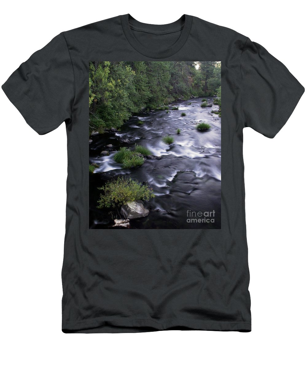 River Men's T-Shirt (Athletic Fit) featuring the photograph Black Waters by Peter Piatt