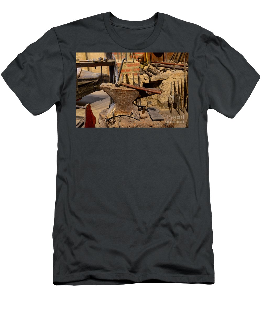 Paul Ward Men's T-Shirt (Athletic Fit) featuring the photograph Blacksmith - Anvil And Hammer by Paul Ward
