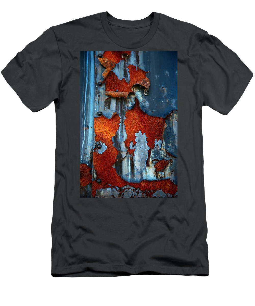 Rusty Pieces Men's T-Shirt (Athletic Fit) featuring the photograph Blue And Rust by Karol Livote