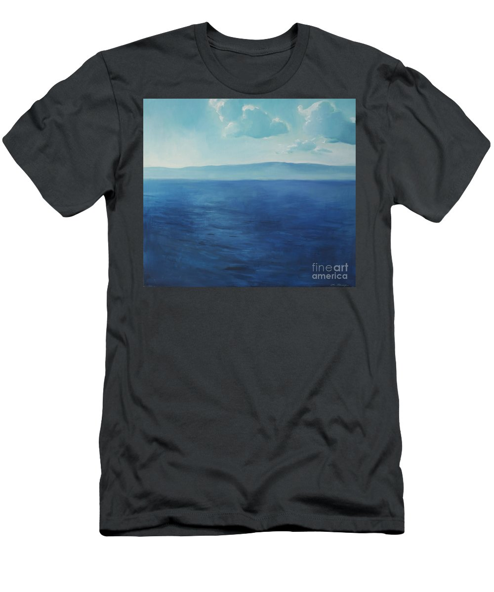 Lin Petershagen Men's T-Shirt (Athletic Fit) featuring the painting Blue Blue Sky Over The Sea by Lin Petershagen