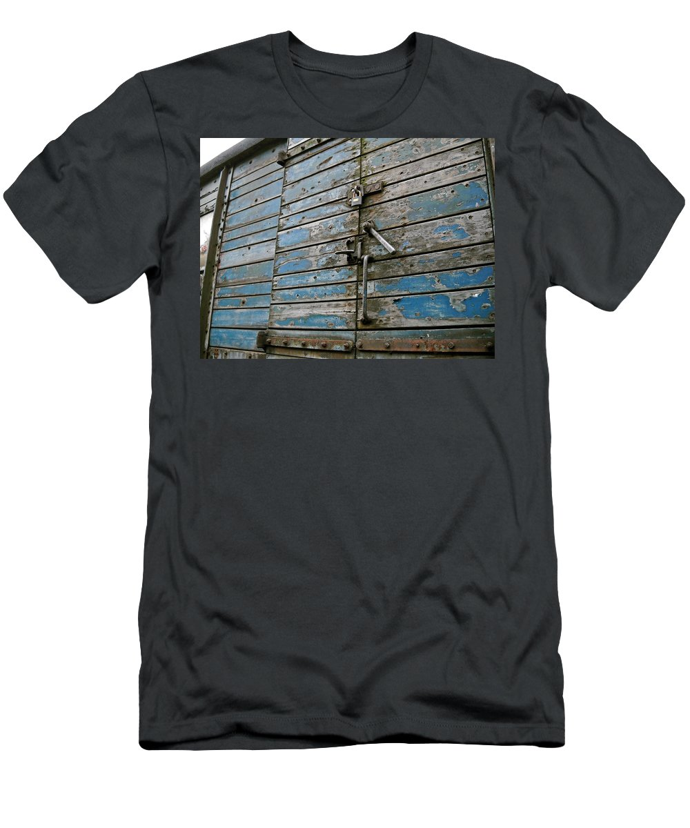 Untied Kingdom Men's T-Shirt (Athletic Fit) featuring the photograph Blue Boxcar by Julia Raddatz