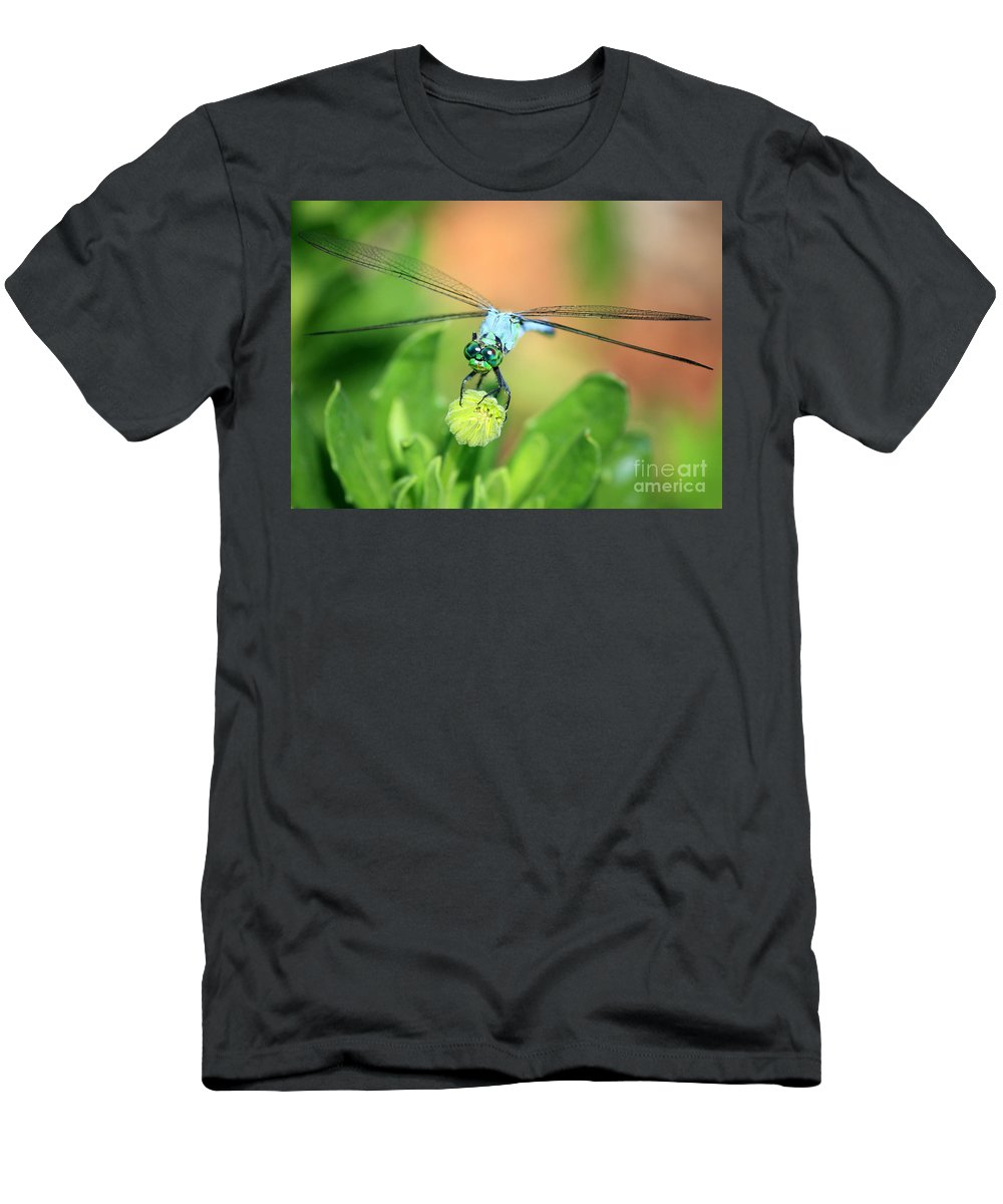Dragonfly Men's T-Shirt (Athletic Fit) featuring the photograph Blue Dragonfly And Bud by Carol Groenen