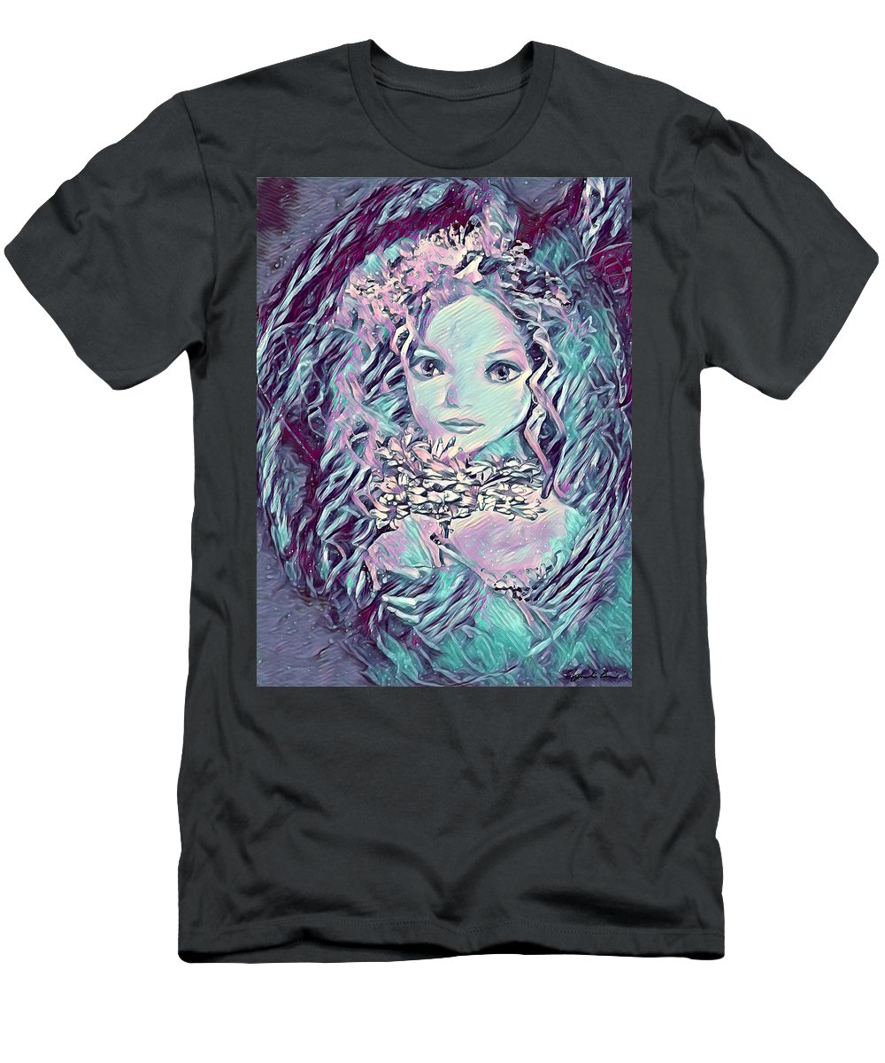 Blue Men's T-Shirt (Athletic Fit) featuring the mixed media Blue Fairy Princess by Amelia Carrie