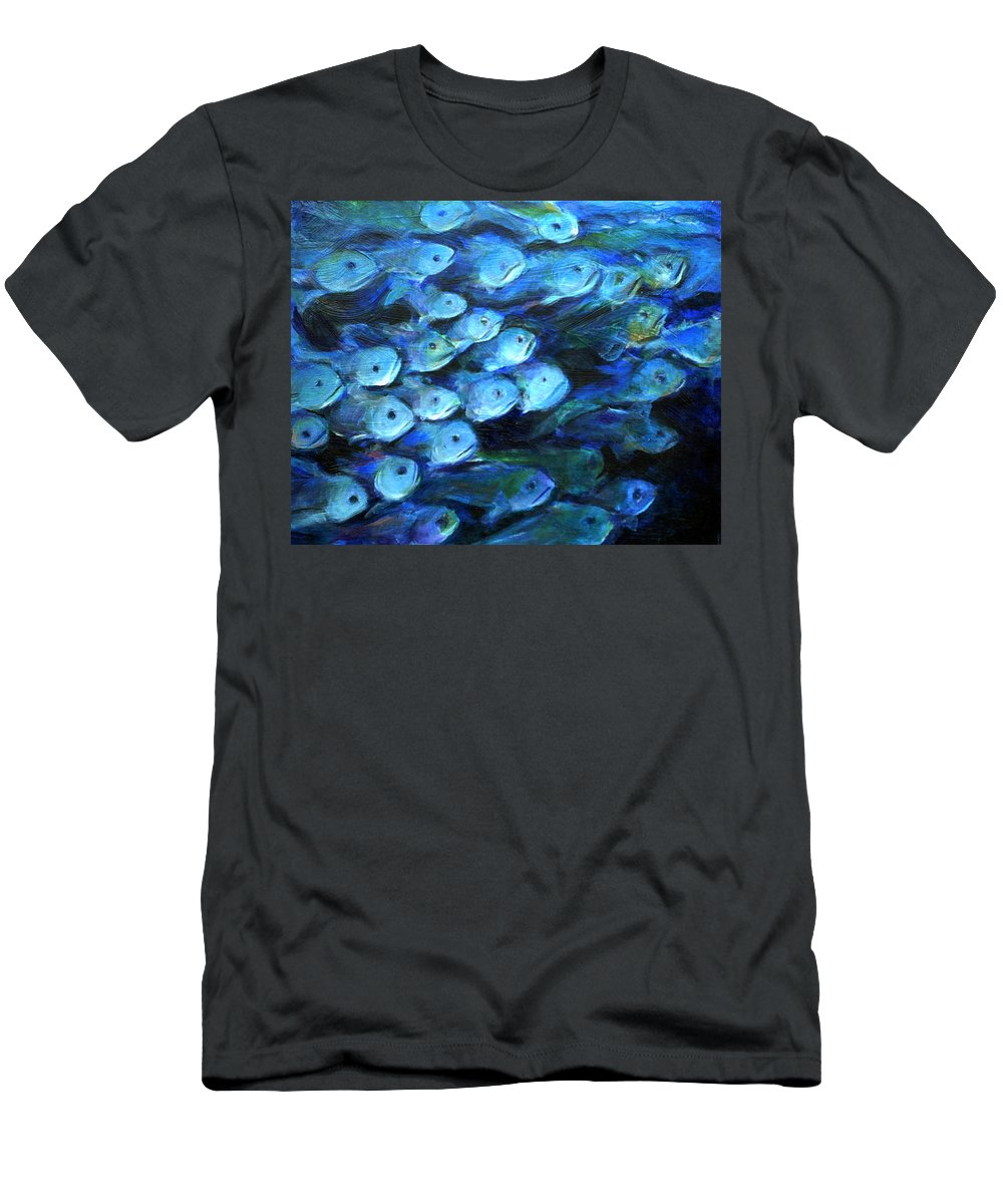 Blue Men's T-Shirt (Athletic Fit) featuring the painting Blue Fish by Nanci Cook