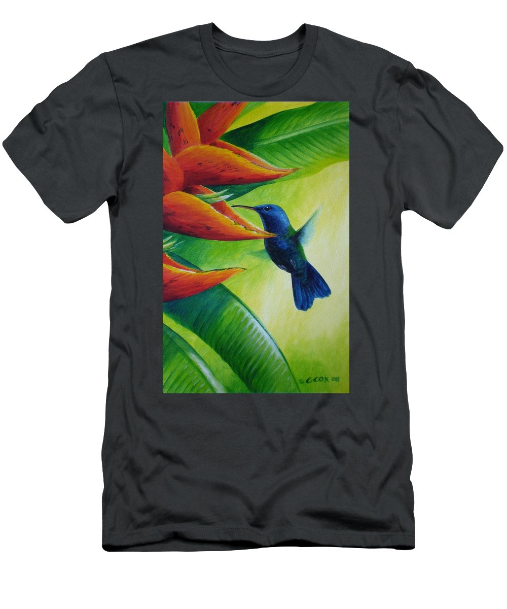 Blue-headed Hummingbird Men's T-Shirt (Athletic Fit) featuring the painting Blue-headed Hummingbird by Christopher Cox