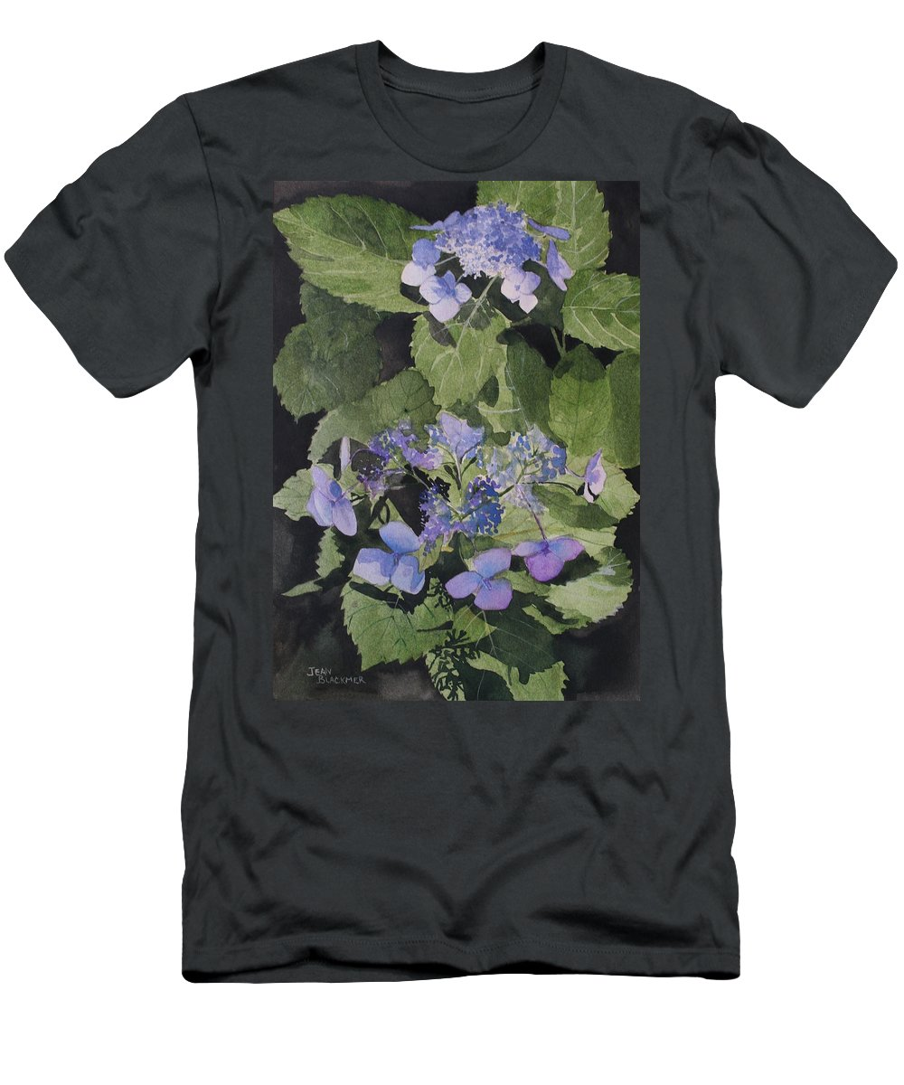 Flowers Men's T-Shirt (Athletic Fit) featuring the painting Blue Lace by Jean Blackmer