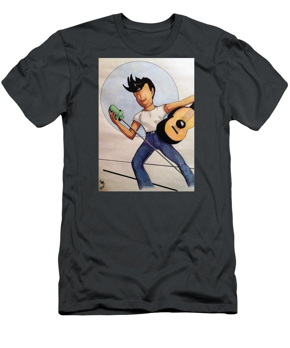Music Men's T-Shirt (Athletic Fit) featuring the drawing Blue Moon by Loretta Nash