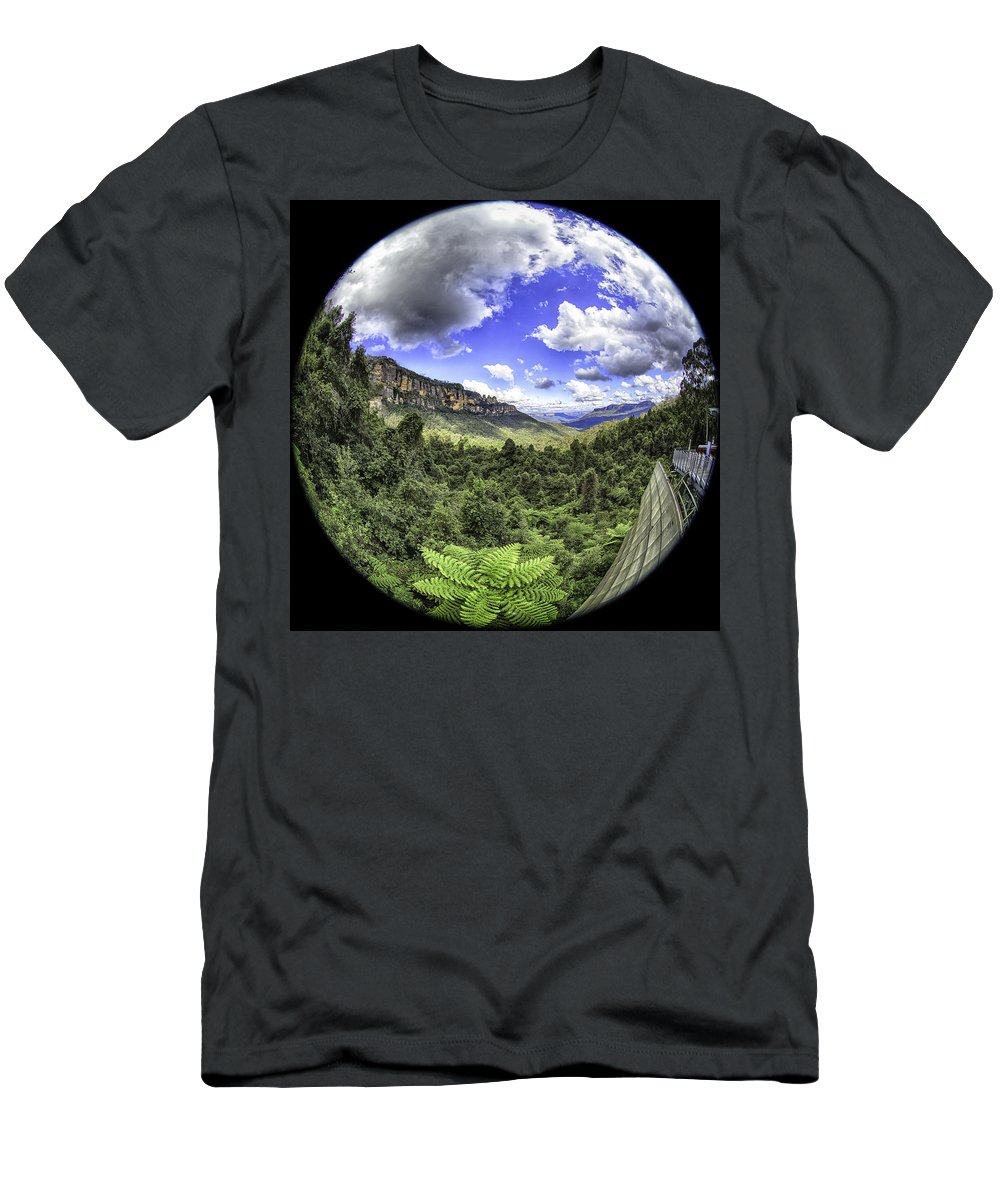 Sydney Men's T-Shirt (Athletic Fit) featuring the photograph Blue Mountains Fisheye by Chris Cousins