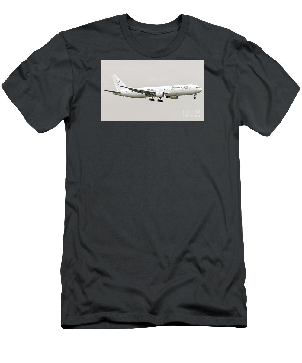 Blue Panorama Men's T-Shirt (Athletic Fit) featuring the photograph Blue Panorama Airlines Boeing 767-300 by Amos Dor