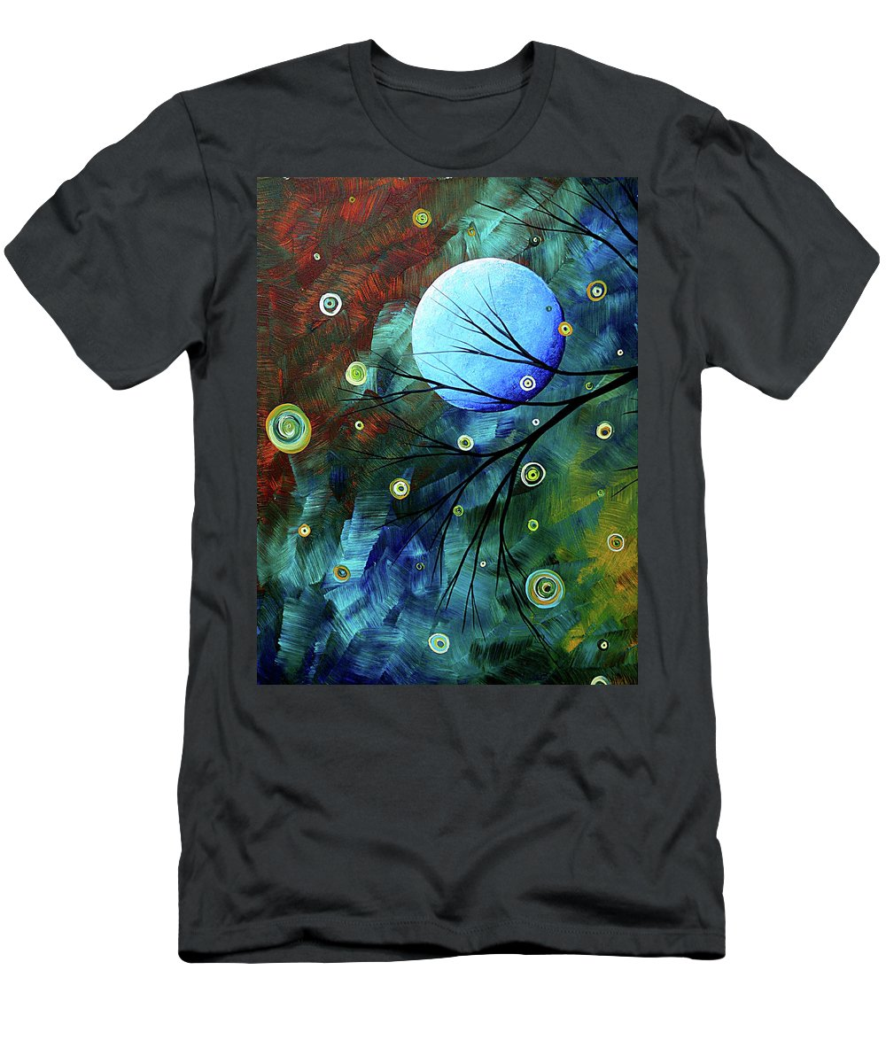 Art Men's T-Shirt (Athletic Fit) featuring the painting Blue Sapphire 1 By Madart by Megan Duncanson