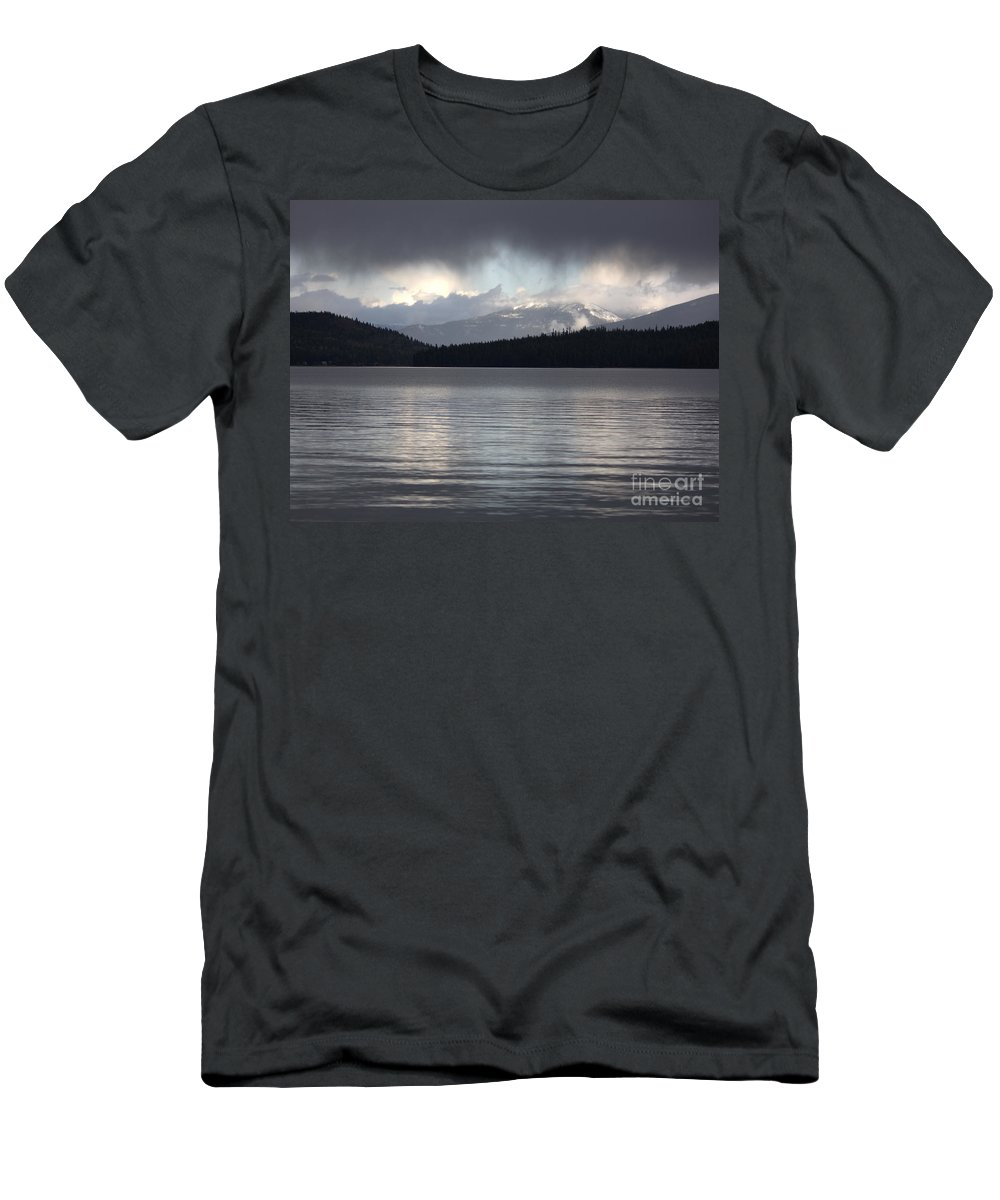 Clouds Men's T-Shirt (Athletic Fit) featuring the photograph Blue Sky Through Dark Clouds by Carol Groenen