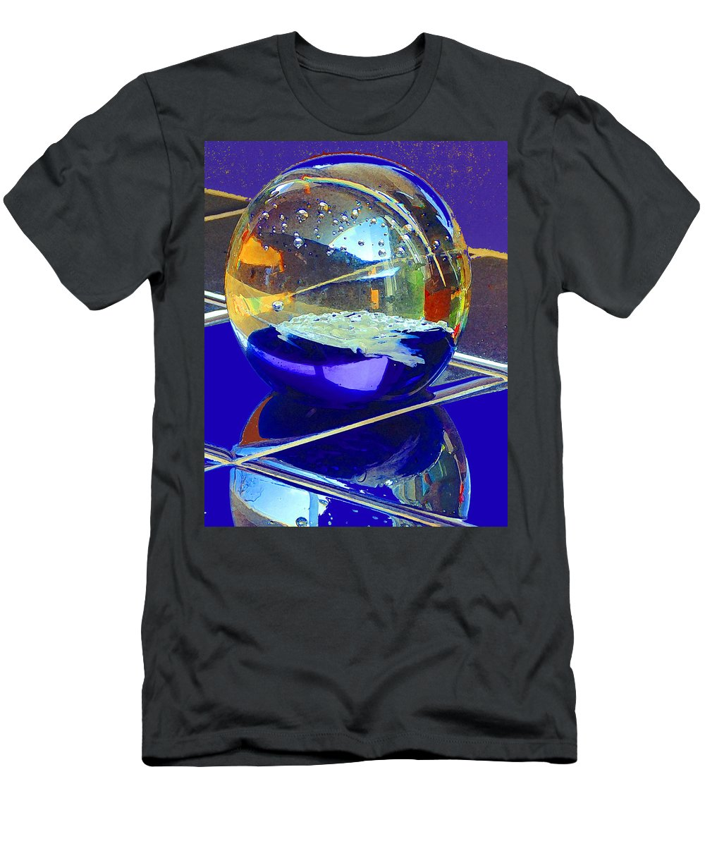 Glass Sphere Men's T-Shirt (Athletic Fit) featuring the digital art Blue Sphere by Jana Russon