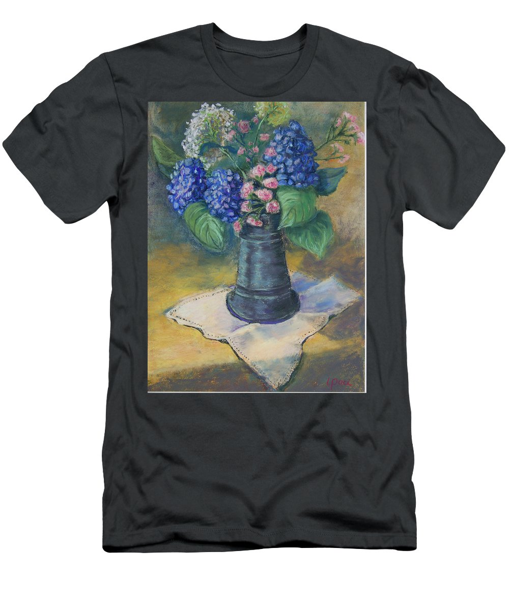 Flowers Men's T-Shirt (Athletic Fit) featuring the painting Blue Summer by Laurie Paci