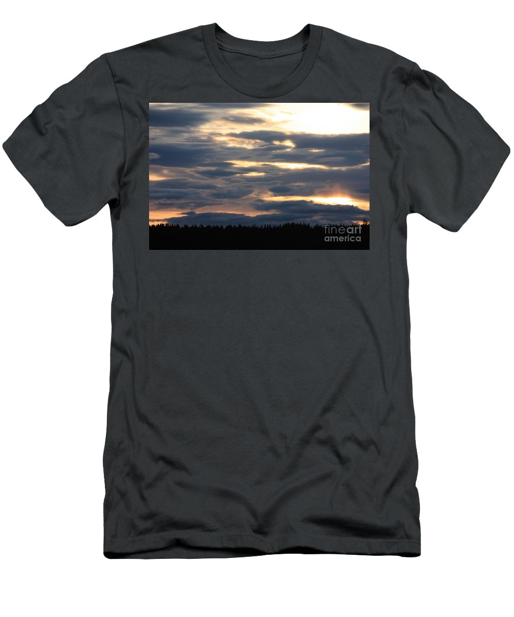 Clouds Men's T-Shirt (Athletic Fit) featuring the photograph Blue Sunset by Carol Groenen
