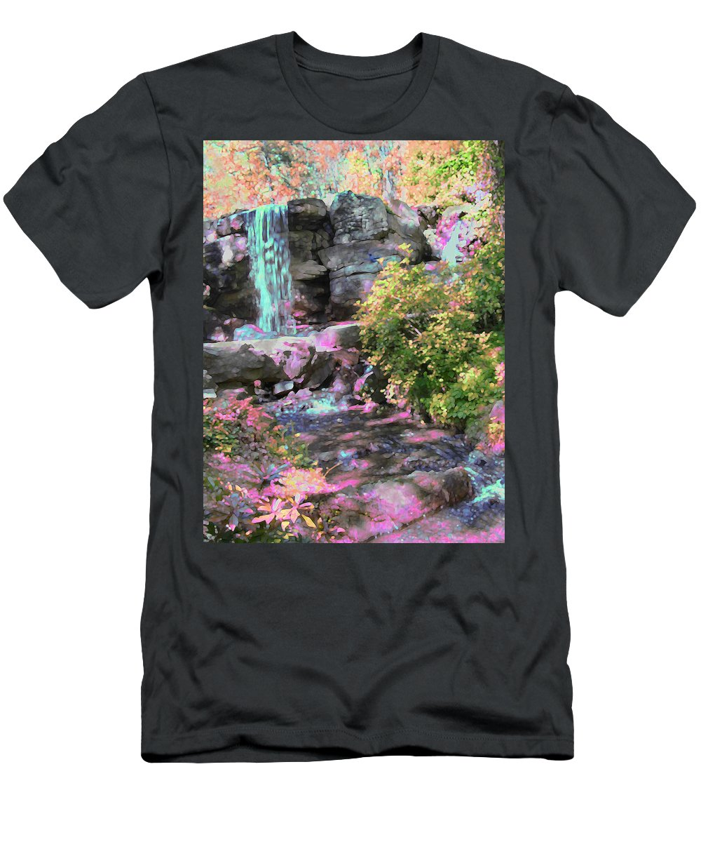 Waterfall Men's T-Shirt (Athletic Fit) featuring the photograph Blue Waterfall by Anne Cameron Cutri