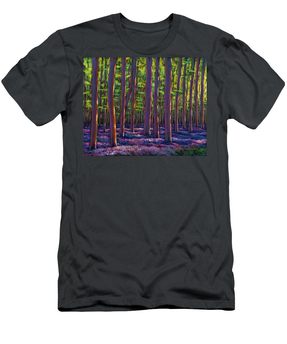 Bluebell Wildflower Landscape Men's T-Shirt (Athletic Fit) featuring the painting Bluebells And Forest by Johnathan Harris