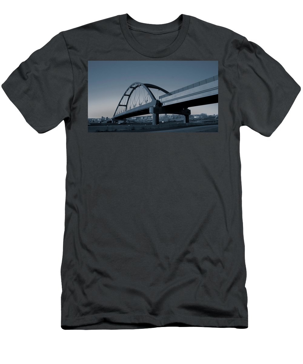 Duotone Men's T-Shirt (Athletic Fit) featuring the photograph Blued Bridge by Angus Hooper Iii