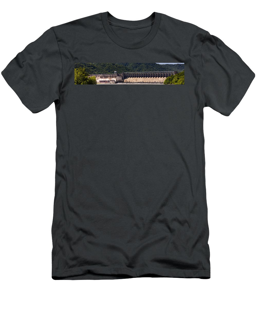 Bluestone Men's T-Shirt (Athletic Fit) featuring the photograph Bluestone West Virginia Dam Panorama by Teresa Mucha