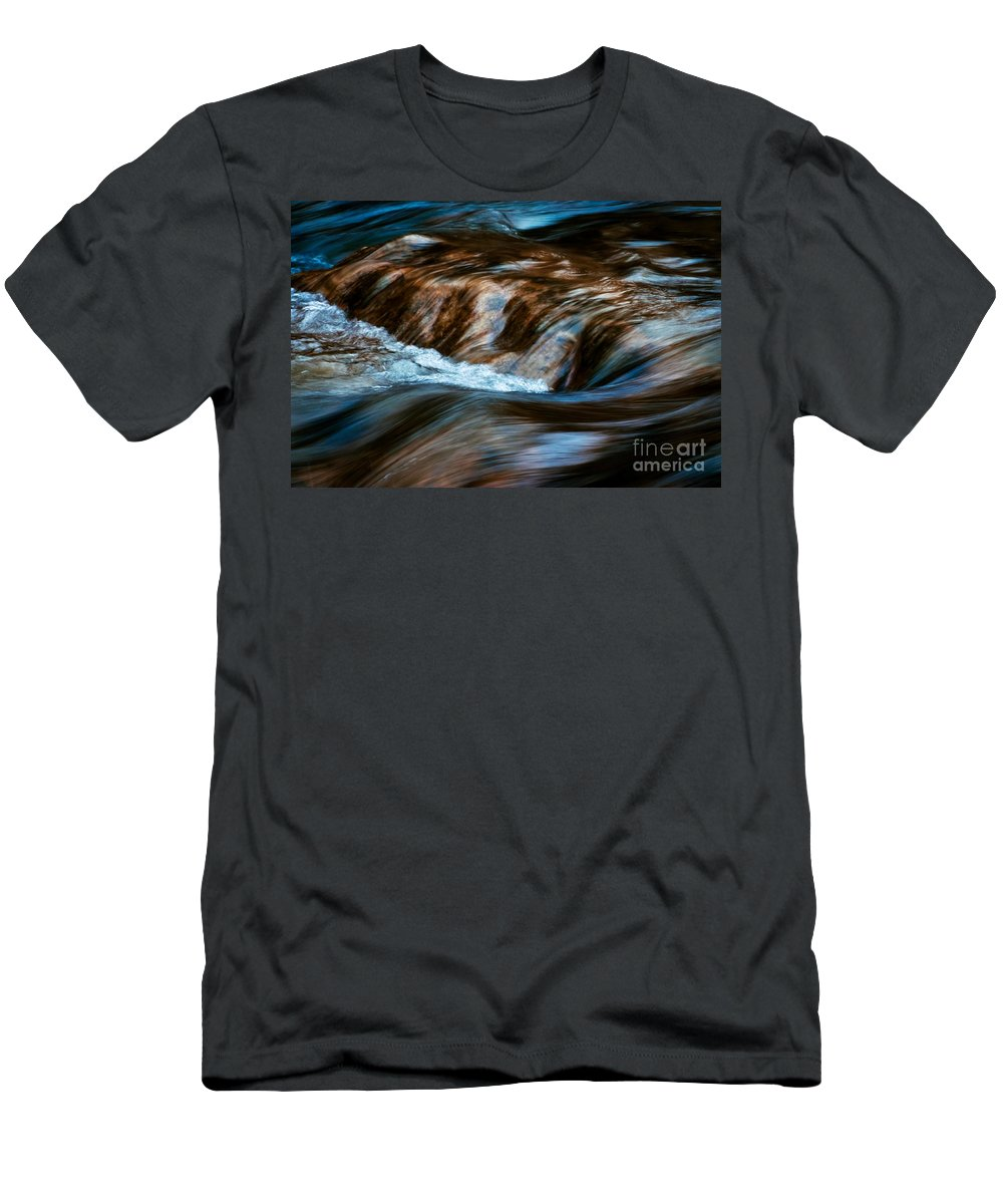 Abstract Men's T-Shirt (Athletic Fit) featuring the photograph Blurred Cascades On The Autumn River by Jozef Jankola