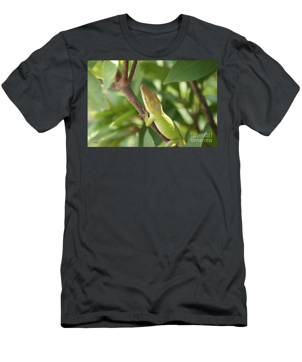 Lizard Men's T-Shirt (Athletic Fit) featuring the photograph Blusing Lizard by Shelley Jones