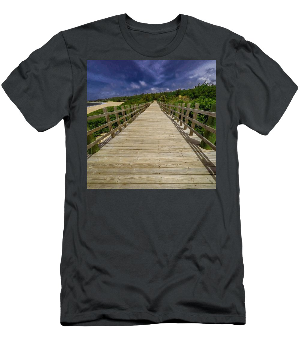 Puerto Rico Men's T-Shirt (Athletic Fit) featuring the photograph Boardwalk In Color by Giovanni Arroyo