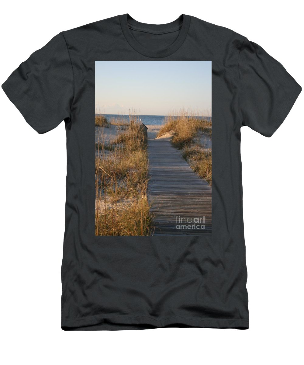 Boardwalk Men's T-Shirt (Athletic Fit) featuring the photograph Boardwalk To The Beach by Nadine Rippelmeyer