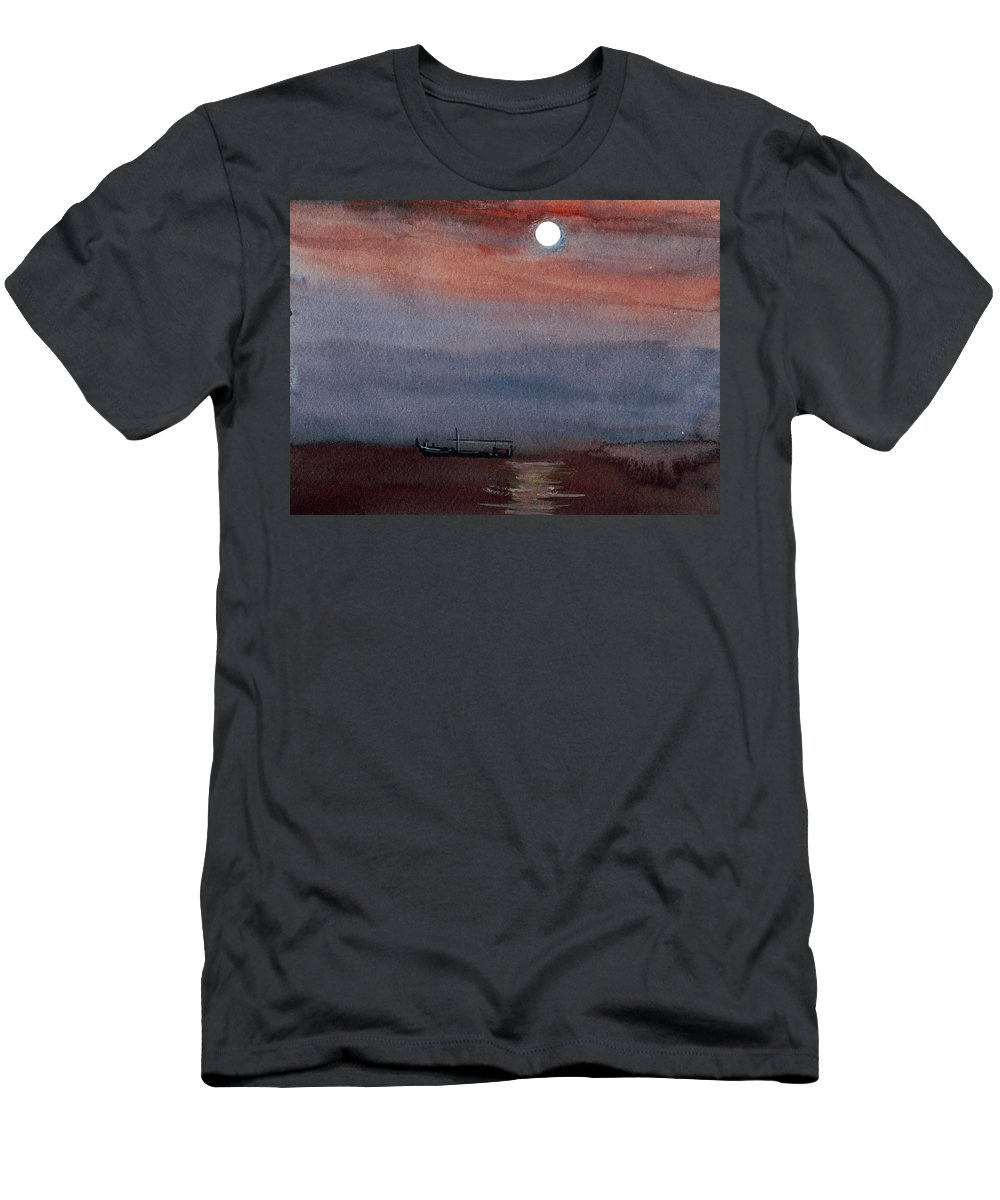 Seascape Men's T-Shirt (Athletic Fit) featuring the painting Boat In The Moon by Anil Nene