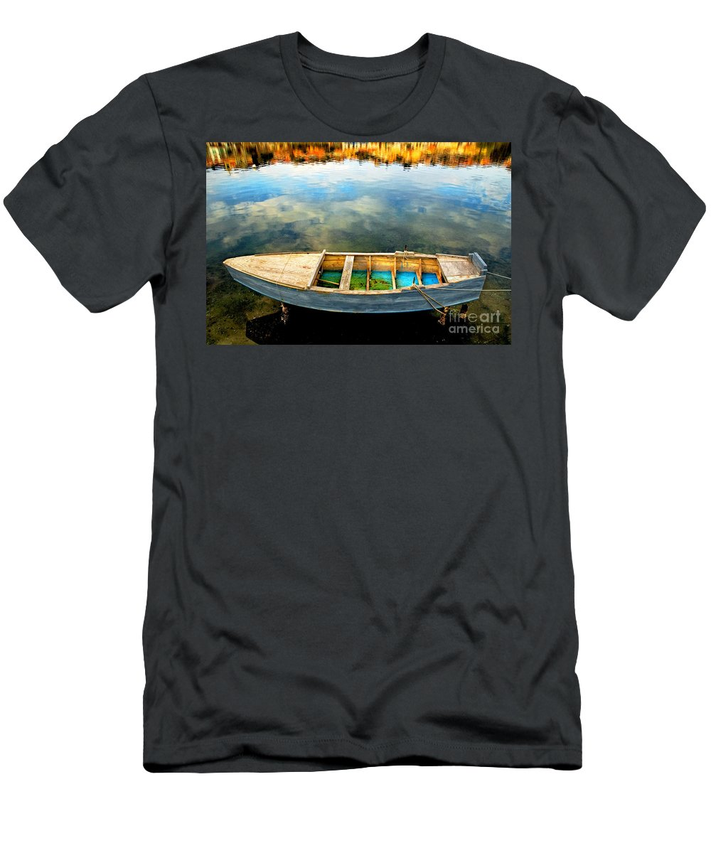 Boat Men's T-Shirt (Athletic Fit) featuring the photograph Boat On Lake by Silvia Ganora