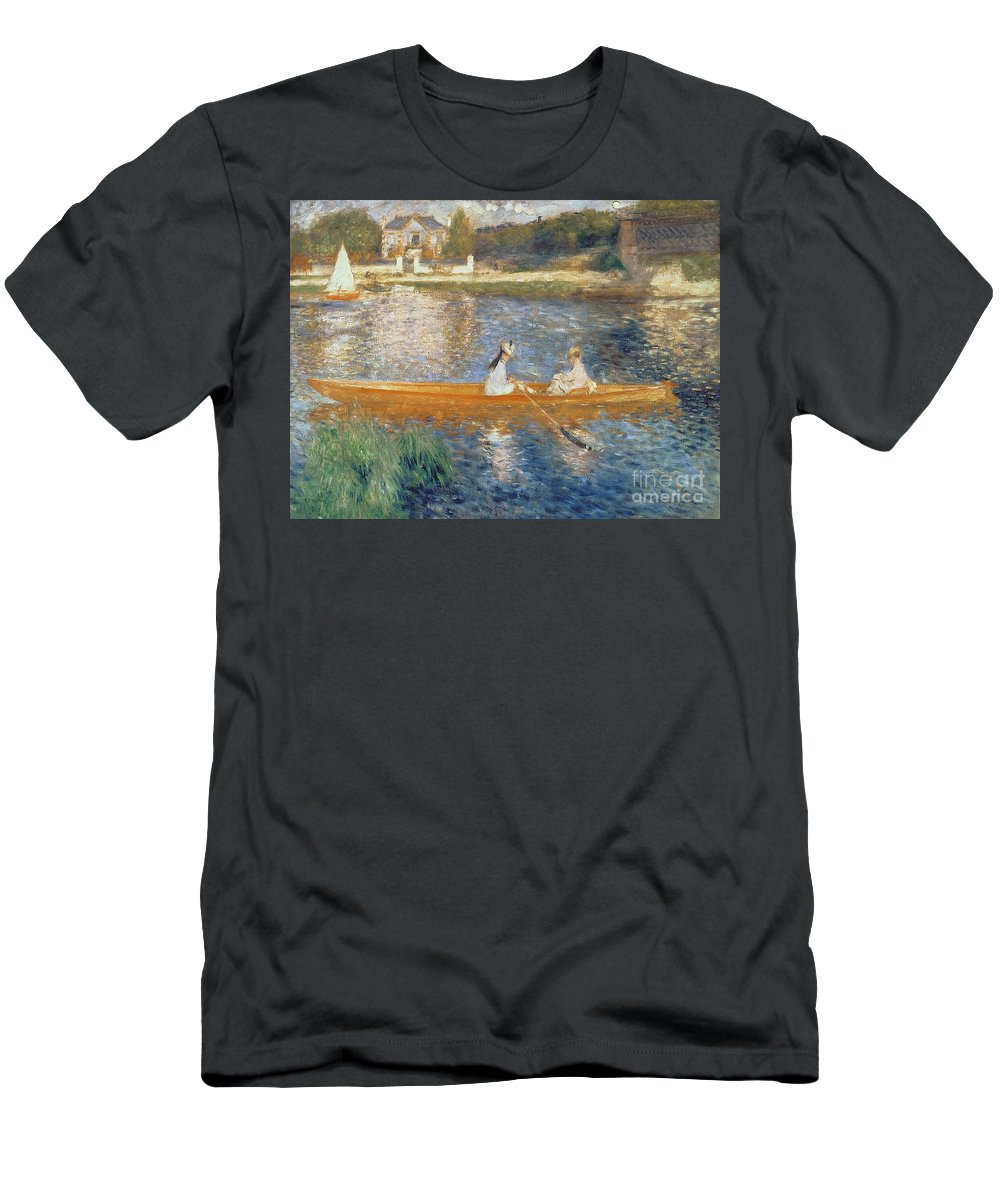 Boating On The Seine Men's T-Shirt (Athletic Fit) featuring the painting Boating On The Seine by Pierre Auguste Renoir
