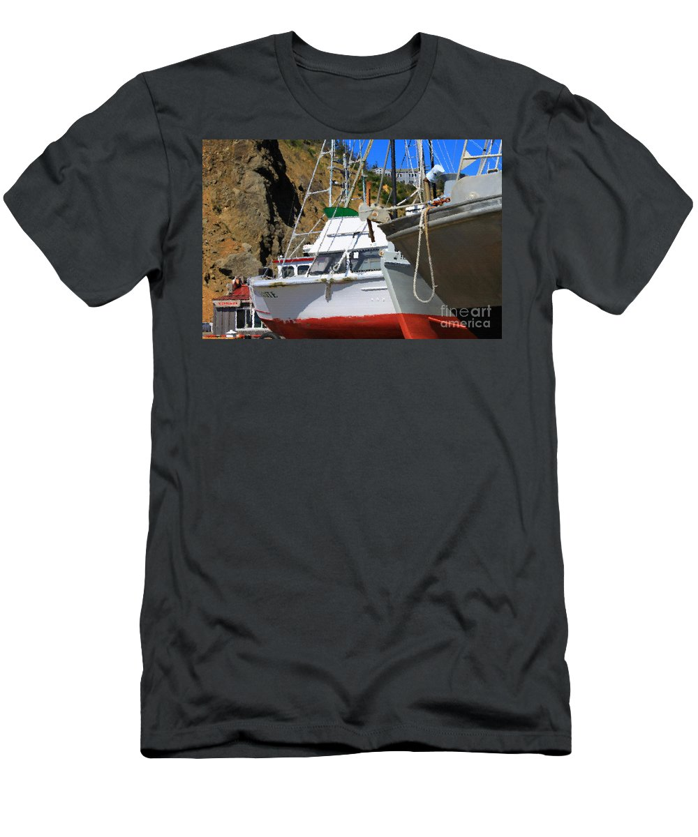 Anchor Men's T-Shirt (Athletic Fit) featuring the photograph Boats In Drydock by James Eddy