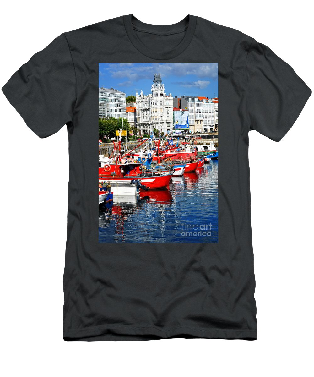 Fishing Boats Men's T-Shirt (Athletic Fit) featuring the photograph Boats In The Harbor - La Coruna by Mary Machare