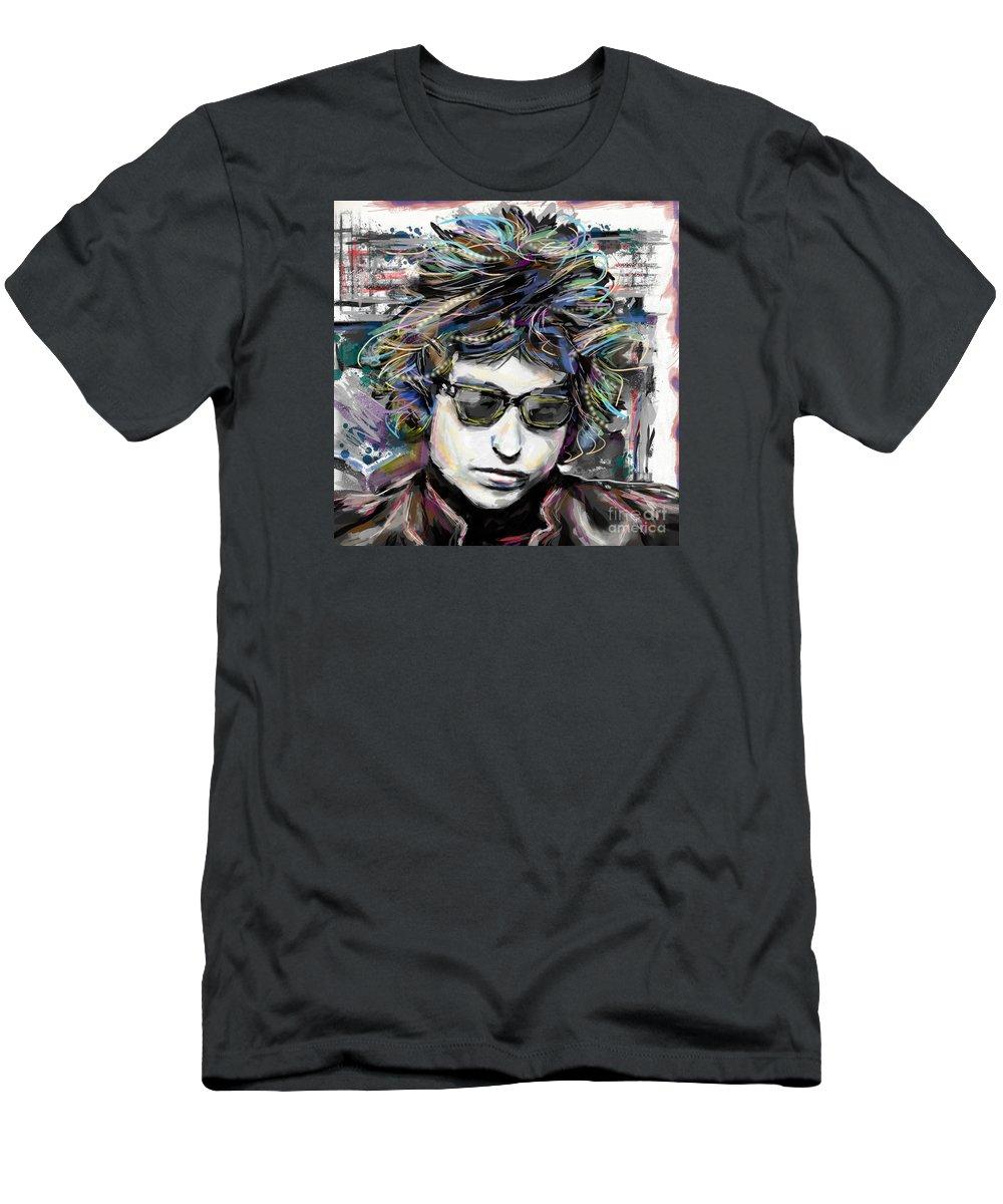 Bob Dylan T-Shirt featuring the mixed media Bob Dylan Art by Ryan Rock Artist