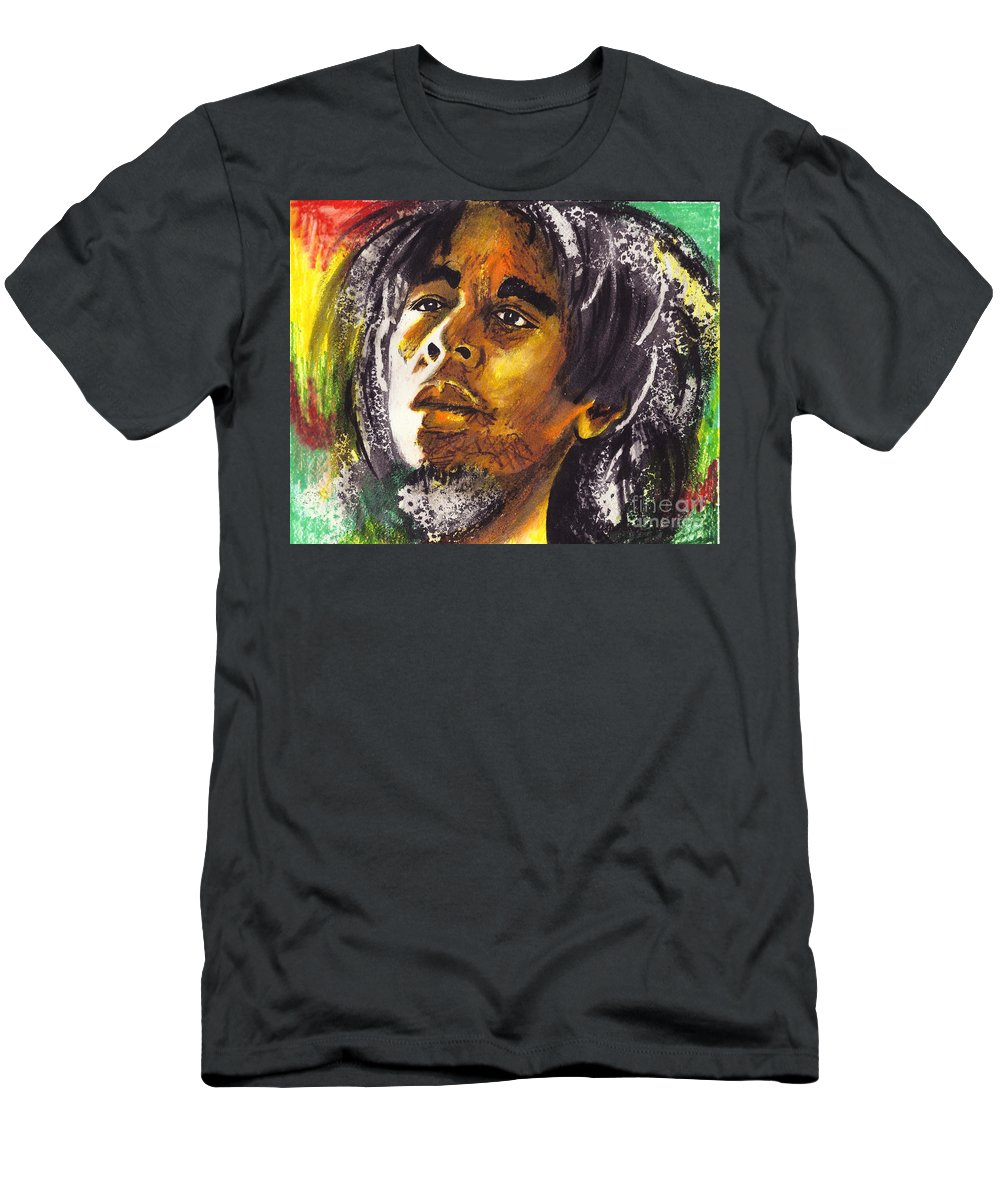 Male Men's T-Shirt (Athletic Fit) featuring the painting Bob Marley by Marcella Muhammad