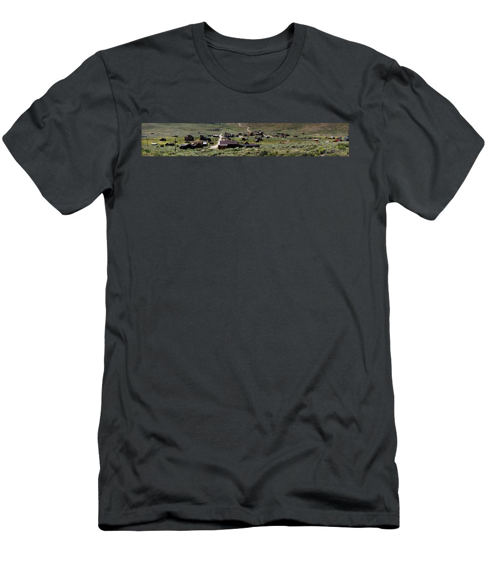 Bodie Ghost Town Panorama Men's T-Shirt (Athletic Fit) featuring the photograph Bodie Ghost Town Panorama by Chris Brannen