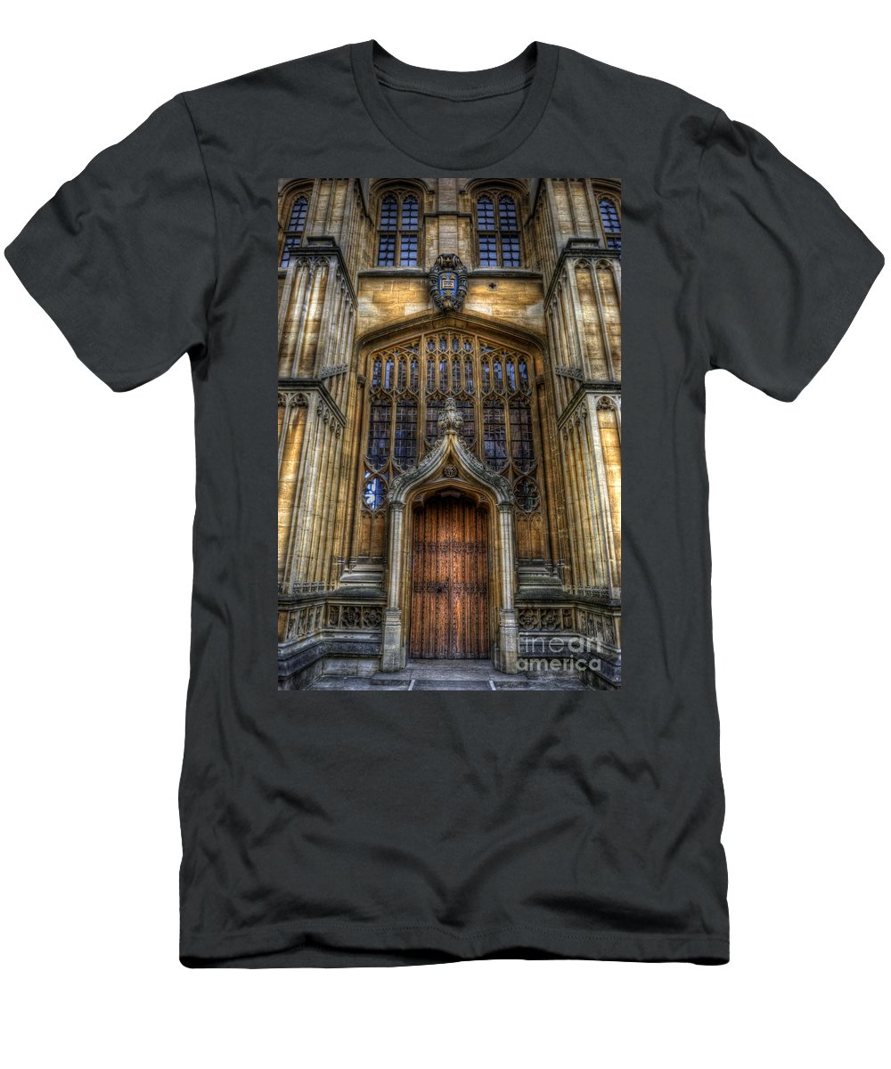 Yhun Suarez Men's T-Shirt (Athletic Fit) featuring the photograph Bodleian Library Door - Oxford by Yhun Suarez