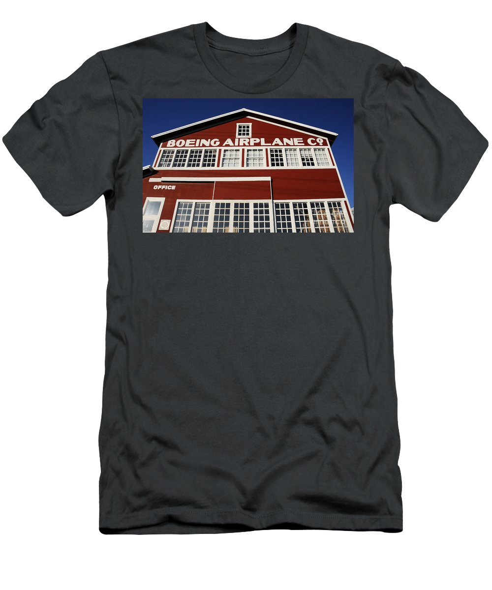 Boeing Men's T-Shirt (Athletic Fit) featuring the photograph Boeing Airplane Hanger Number One by David Lee Thompson