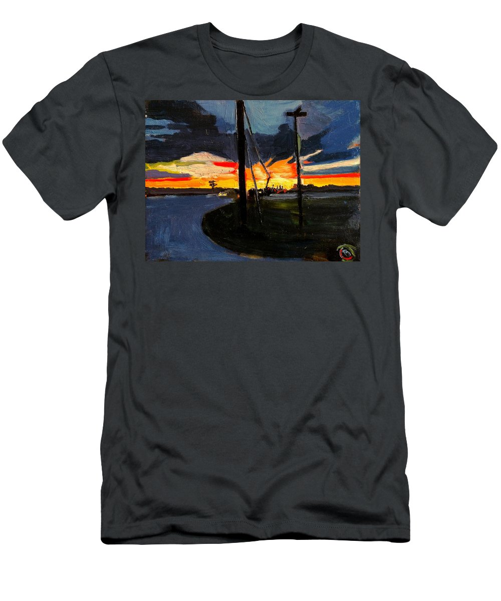 Sunset Men's T-Shirt (Athletic Fit) featuring the painting Bogardus Corner by Brian Johnson