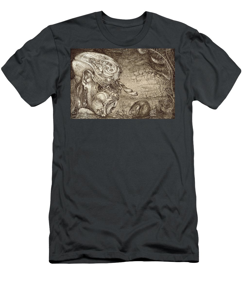Surreal Men's T-Shirt (Athletic Fit) featuring the drawing Bogomils Mousetrap by Otto Rapp