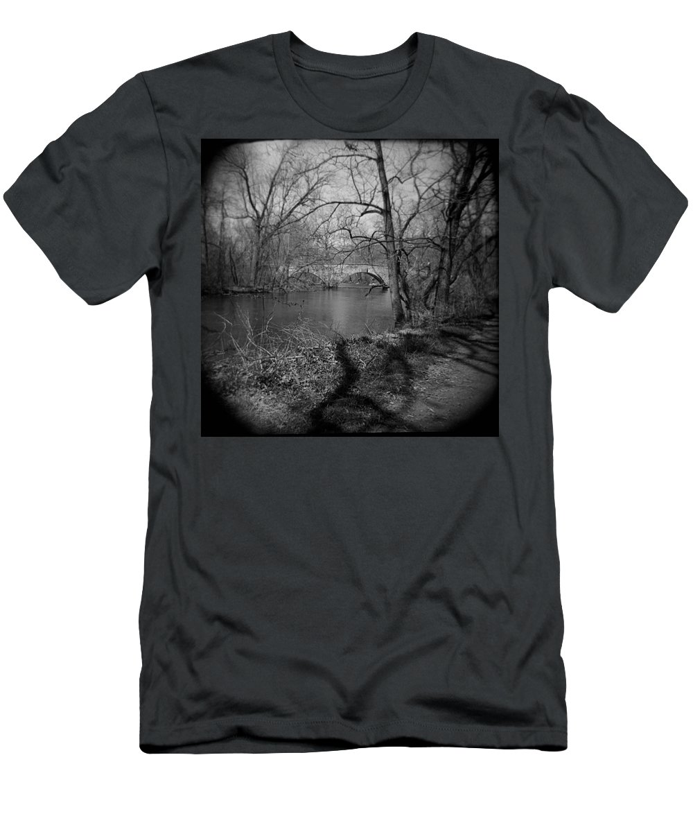 Photograph Men's T-Shirt (Athletic Fit) featuring the photograph Boiling Springs Stone Bridge by Jean Macaluso