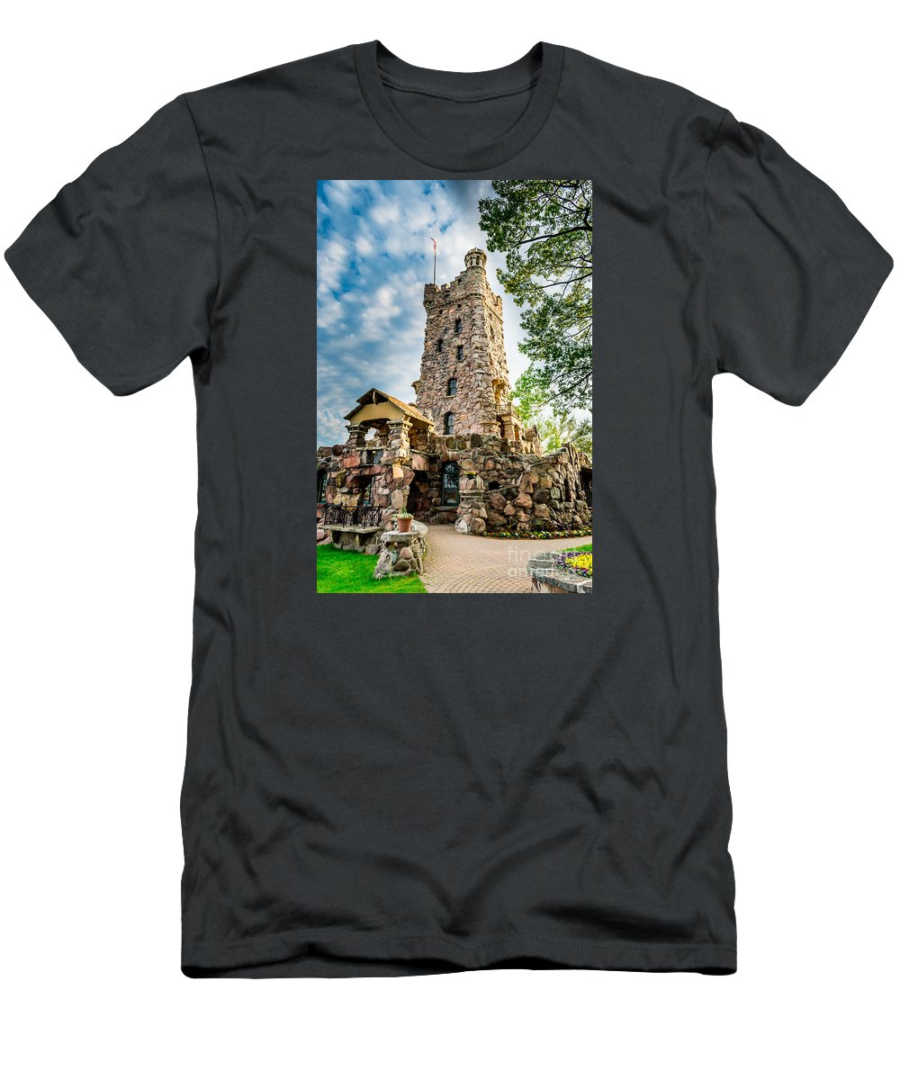 Battlements Men's T-Shirt (Athletic Fit) featuring the photograph Boldt Castle Playhouse by Scott Chimber