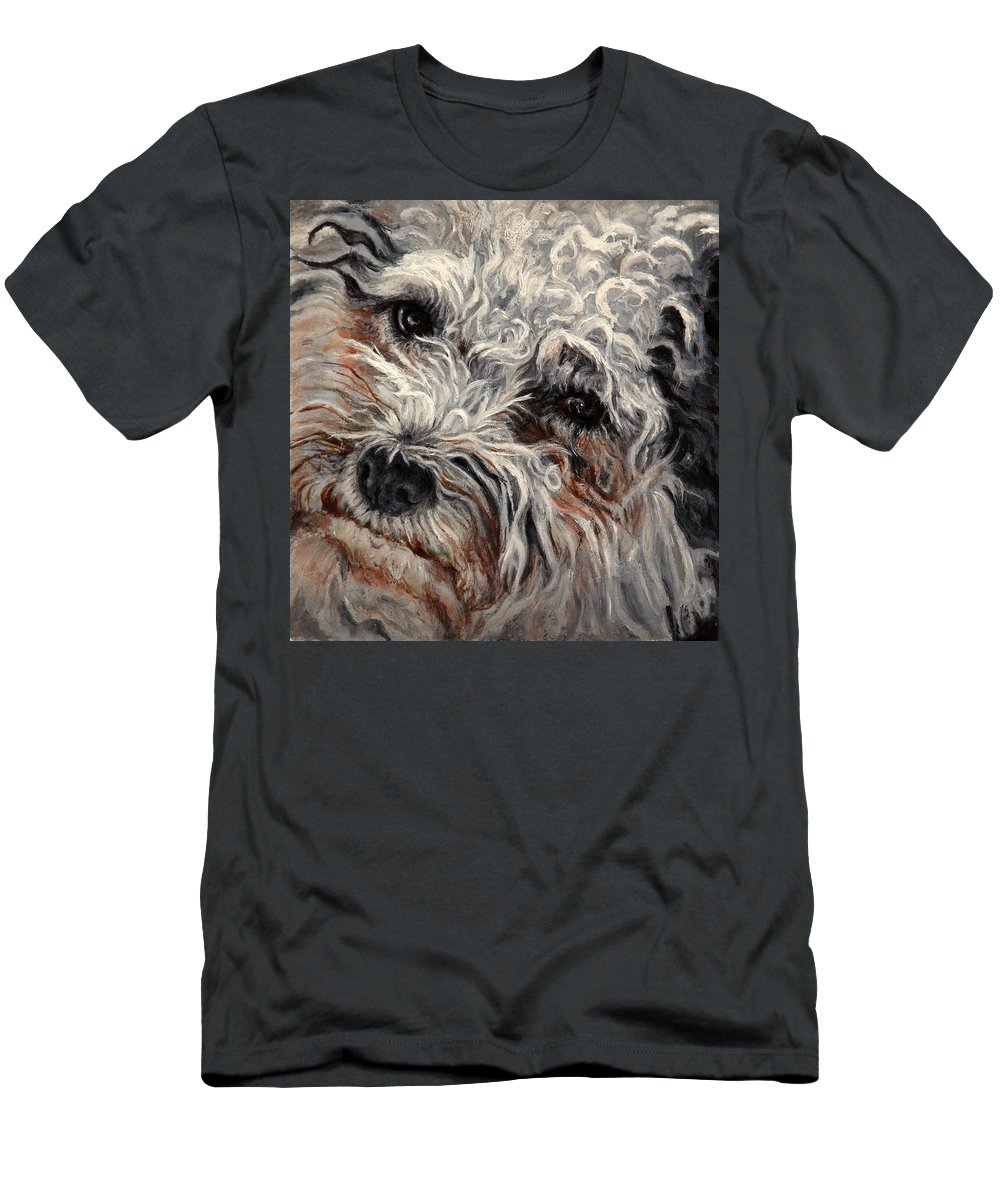 Pets Men's T-Shirt (Athletic Fit) featuring the painting Bolognese Breed by Portraits By NC