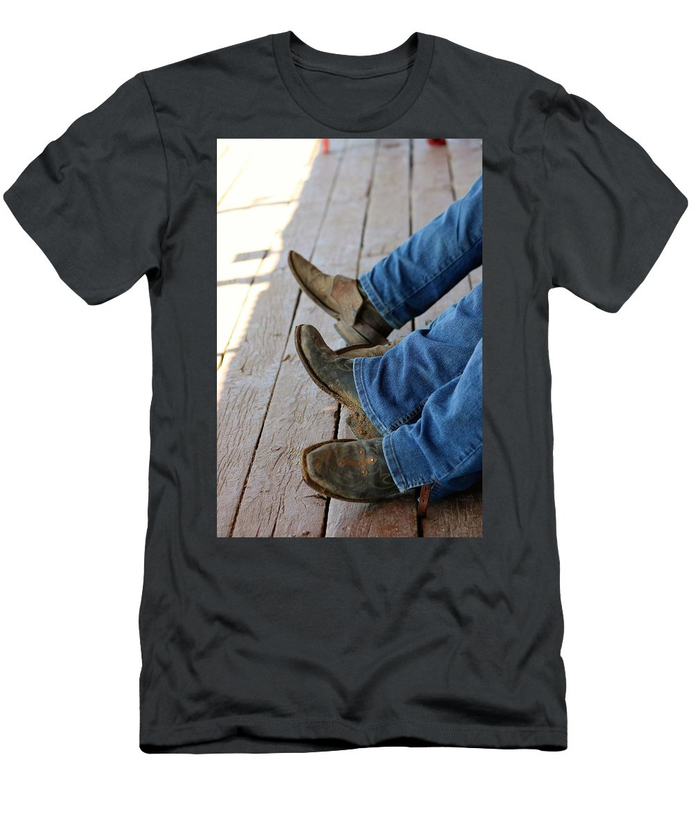 Cowboy Men's T-Shirt (Athletic Fit) featuring the photograph Boots by Lisa Spero