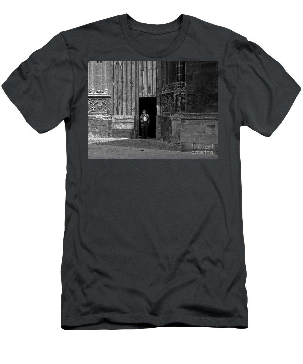 Bordeaux Men's T-Shirt (Athletic Fit) featuring the photograph Bordeaux Church Door by Thomas Marchessault
