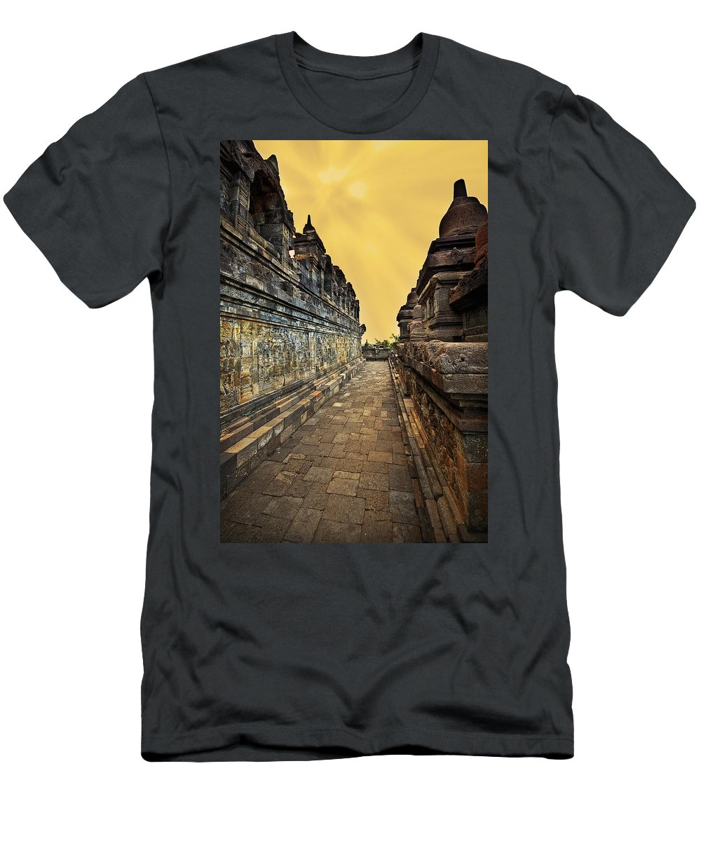Men's T-Shirt (Athletic Fit) featuring the photograph Borobudur Temple by Charuhas Images