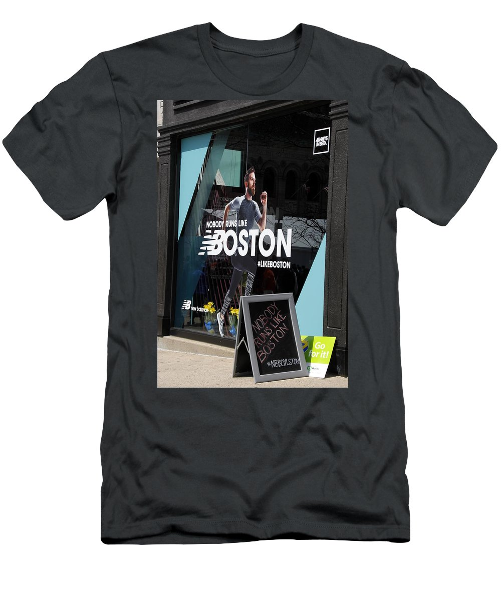 Boston Men's T-Shirt (Athletic Fit) featuring the photograph Boston Marathon Window Display by Valerie Collins