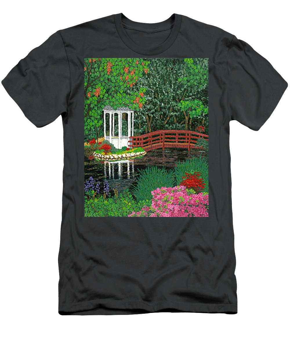 Art Men's T-Shirt (Athletic Fit) featuring the painting Botanical Garden Park Walk Pink Azaleas Bridge Gazebo Flowering Trees Pond by Baslee Troutman